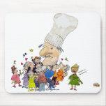 Cocinero divertido del francés del dibujo animado tapete de ratones