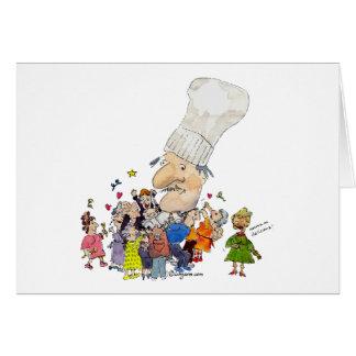 Cocinero divertido del francés del dibujo animado tarjeta pequeña
