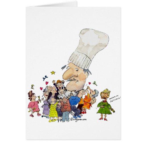 Cocinero divertido del francés del dibujo animado tarjeta de felicitación
