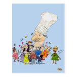 Cocinero divertido del francés del dibujo animado tarjetas postales