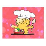 Cocinero divertido divertido del gatito del dibujo