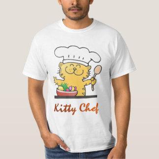 Cocinero divertido divertido del gatito del dibujo playera