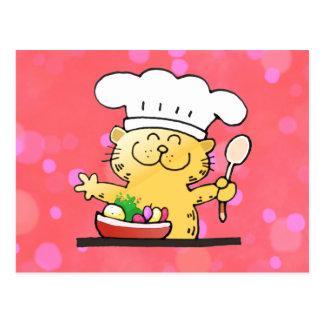 Cocinero divertido divertido del gatito del dibujo tarjeta postal