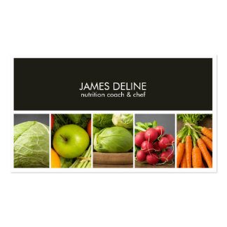 Cocinero elegante moderno del nutricionista tarjetas de visita