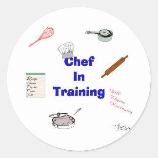 Cocinero en el entrenamiento pegatina redonda