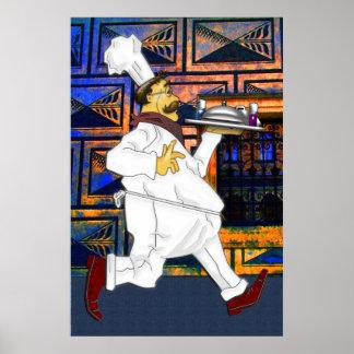 Cocinero en el funcionamiento póster