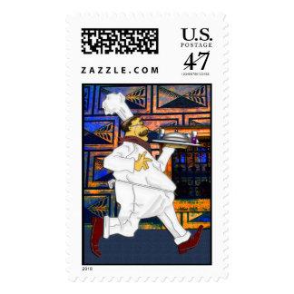 Cocinero en el funcionamiento sellos postales