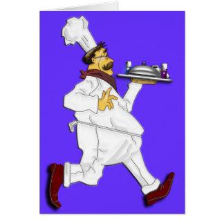 Cocinero en el funcionamiento tarjeta de felicitación