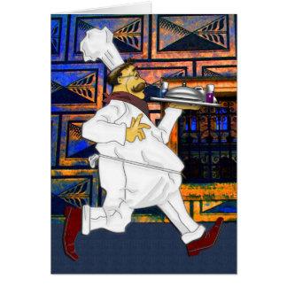 Cocinero en el funcionamiento tarjeta pequeña