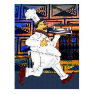 Cocinero en el funcionamiento tarjetas postales