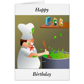 Cocinero en el trabajo, feliz, cumpleaños tarjetas