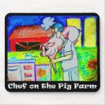Cocinero en la granja de cerdo Mousepad Alfombrilla De Ratón
