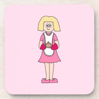 Cocinero en rosa y blanco posavasos