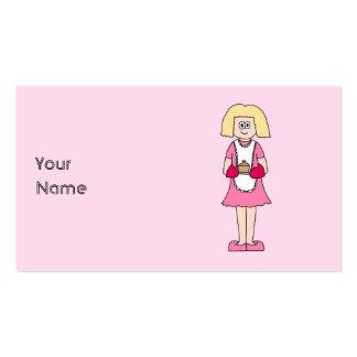 Cocinero en rosa y blanco tarjetas de visita