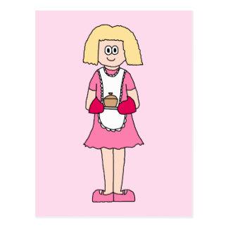 Cocinero en rosa y blanco tarjetas postales
