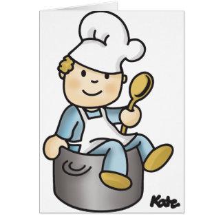 Cocinero en un pote felicitaciones