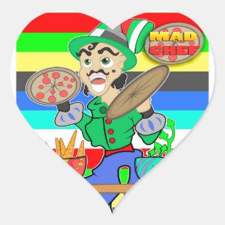 Cocinero enojado pegatina en forma de corazón