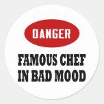 Cocinero famoso divertido pegatina redonda