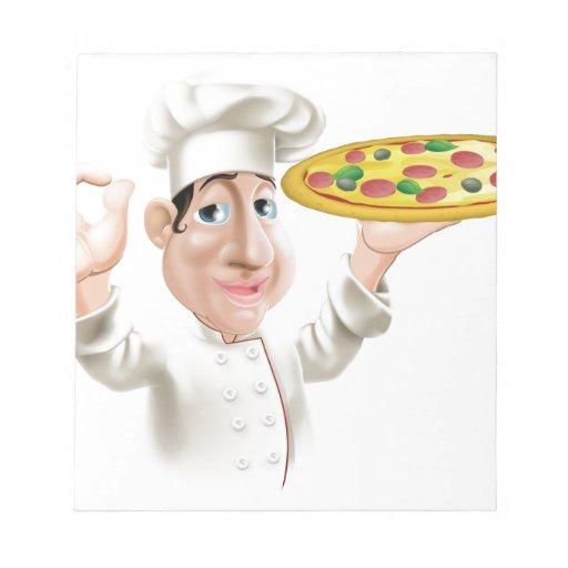 Cocinero feliz de la pizza bloc de papel