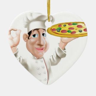 Cocinero feliz de la pizza adorno de cerámica en forma de corazón