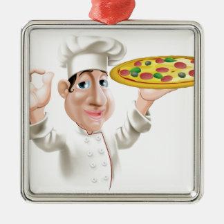 Cocinero feliz de la pizza adorno cuadrado plateado