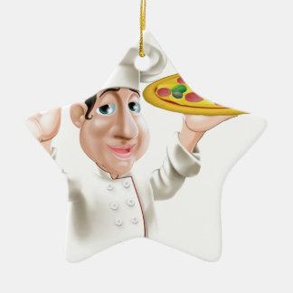 Cocinero feliz de la pizza adorno de cerámica en forma de estrella