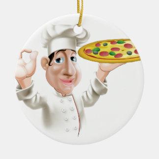 Cocinero feliz de la pizza adorno redondo de cerámica