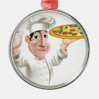 Cocinero feliz de la pizza adorno redondo plateado