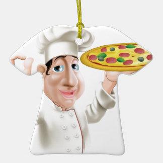 Cocinero feliz de la pizza adorno de cerámica en forma de camiseta