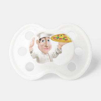 Cocinero feliz de la pizza chupetes de bebe