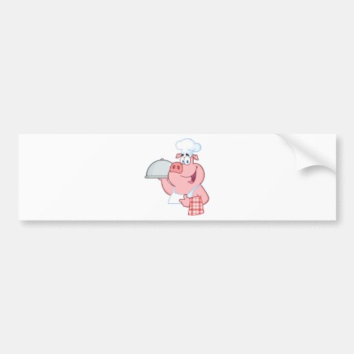 Cocinero feliz del cerdo que lleva a cabo una mues etiqueta de parachoque