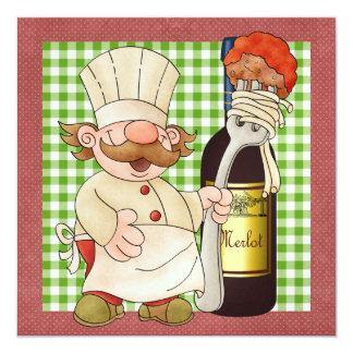 """Cocinero feliz - SRF Invitación 5.25"""" X 5.25"""""""