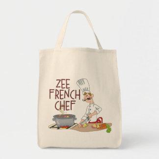 Cocinero francés divertido bolsas lienzo