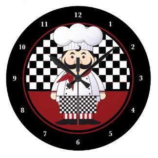 Cocinero francés reloj redondo grande