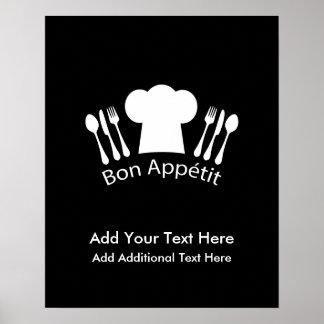 Cocinero gastrónomo del gorra francés del cocinero póster