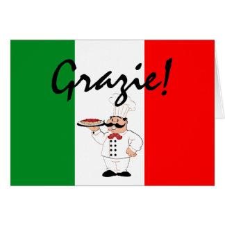 Cocinero Grazie-Gracias-Italiano Tarjeton