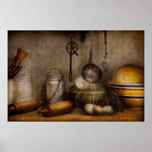 Cocinero - ingredientes - desayuno y abuelo posters