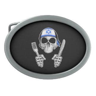 Cocinero israelí 4 hebillas cinturón ovales