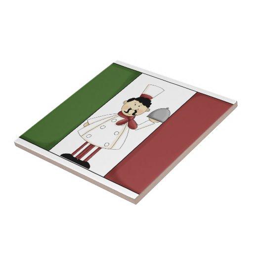 Cocinero italiano #4 con la teja de la bandera