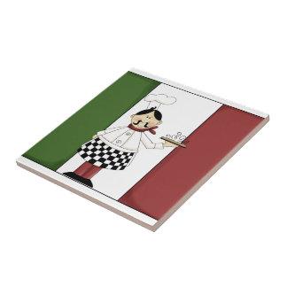 Cocinero italiano 7 con la teja de la bandera