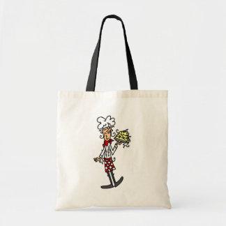 Cocinero italiano con las camisetas y los regalos  bolsa lienzo