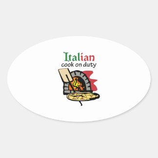 COCINERO ITALIANO DE SERVICIO PEGATINA OVALADA