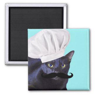 Cocinero italiano, gato negro imán cuadrado