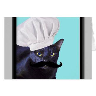 Cocinero italiano, gato negro tarjeton