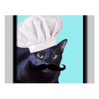 Cocinero italiano, gato negro tarjeta postal