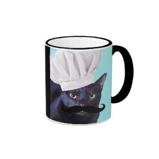 Cocinero italiano, gato negro taza de café