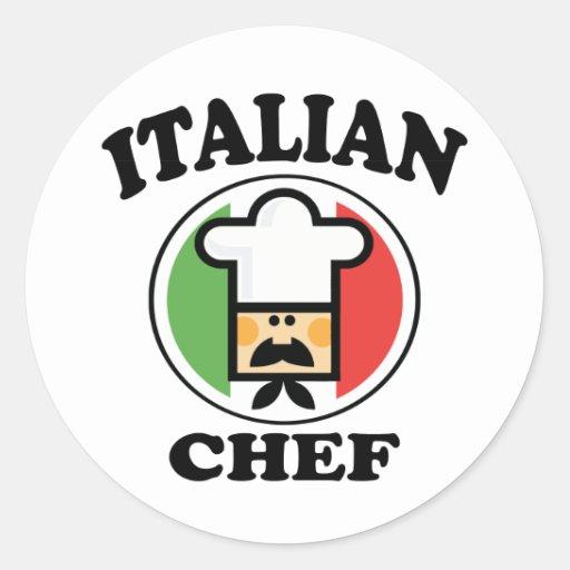 Cocinero italiano pegatina redonda