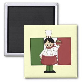 Cocinero italiano - personalizable imán cuadrado