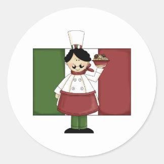 Cocinero italiano - personalizable pegatina redonda