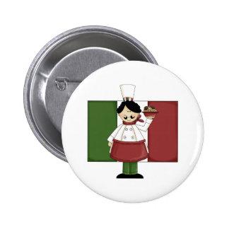 Cocinero italiano - personalizable pin redondo de 2 pulgadas